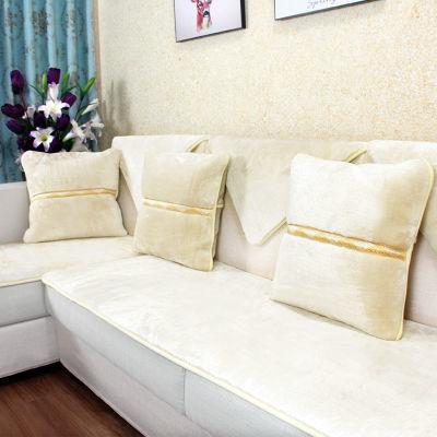 定制冬天加厚防滑纯色北欧毛绒木沙发垫套装欧式坐垫套巾简约现代