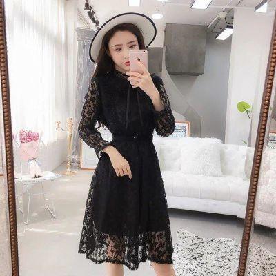 YY 时尚2018新款秋装蕾丝连衣裙长袖女中长款镂空百褶收腰时尚打