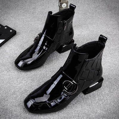 2018新款传奇女鞋马丁靴漆皮小方头石头纹短靴马丁靴女英伦风靴子