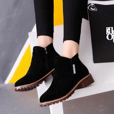 2018春秋季新款欧美女短靴马丁靴磨砂绒粗跟中跟休闲百搭学生女鞋