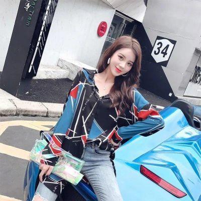 YY 时尚不规则撞色拼接衬衫女2018秋夏季新款韩版学院风长袖宽松