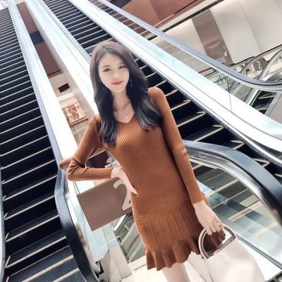 YY 时尚2018秋季新款时尚针织百搭显瘦修身气质V领长袖鱼尾连衣
