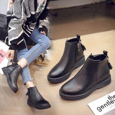 2018秋冬欧美新款马丁靴女短靴粗跟大码时装靴英伦皮靴圆头女靴子