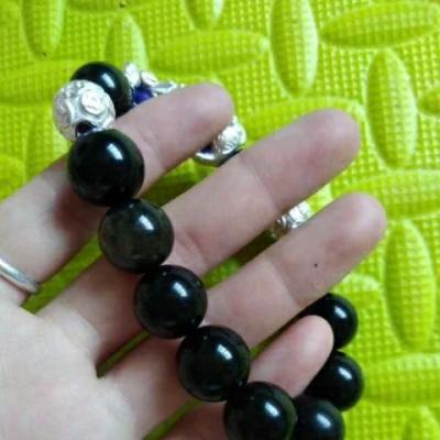 金耀石纯银龙珠转运珠手串,变色貔貅手链