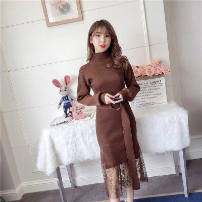 YY 时尚秋冬新款韩版时尚气质大码女装针织连衣裙蕾丝拼接假两件
