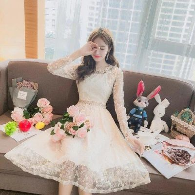 YY 时尚秋季蕾丝连衣裙女2018新款韩版气质中长款小心机性感超仙