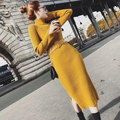 YY 时尚2018秋冬新款女装中长款针织连衣裙修身过膝一步打底毛衣