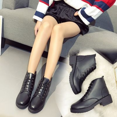 2018秋冬季新款系带粗跟马丁靴靴子欧美圆头中跟跟女鞋百搭外贸鞋