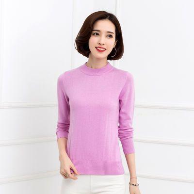 2018秋冬新款羊绒衫女半高圆领纯色短款羊毛衫针织打底衫套头毛衣