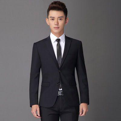 海阑之家西服套装男士三件套韩版结婚礼服秋季青年休闲西装男外套