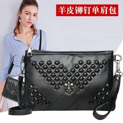 真皮软羊皮手拿包女士包包2018新款气质潮韩版大容量手抓包小手包