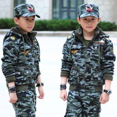 童装儿童迷彩服套装冬新款加绒加厚男童军训服军装大童棉服运动装