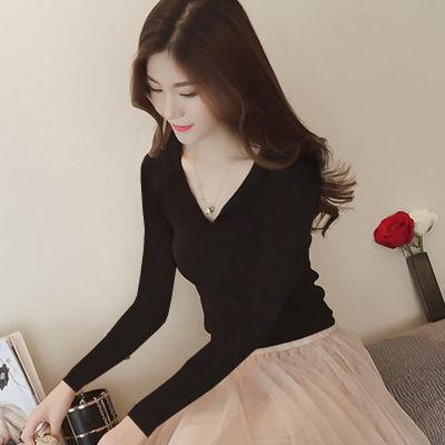 早秋款针织衫长袖女学生韩版新款V领毛衣修身显瘦薄款打底衫上衣