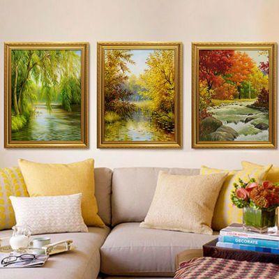 欧式装饰画客厅沙发背景三联画餐厅油画大气美式墙画花园风景挂画图片
