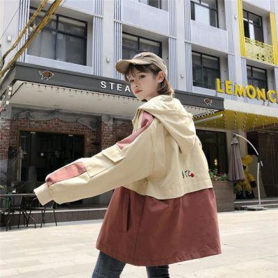 欧美外套女春秋韩版bf原宿宽松夹克学生工装风衣嘻哈少女棒球服潮