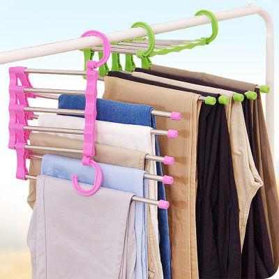 五合一魔术裤架不锈钢实用多功能伸缩晾裤架衣柜挂裤架颜色随机