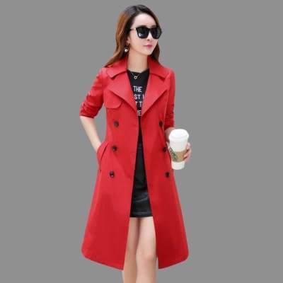 韩国外套风衣修身新款秋季风衣过膝中长卡风衣中长款女连帽外套工