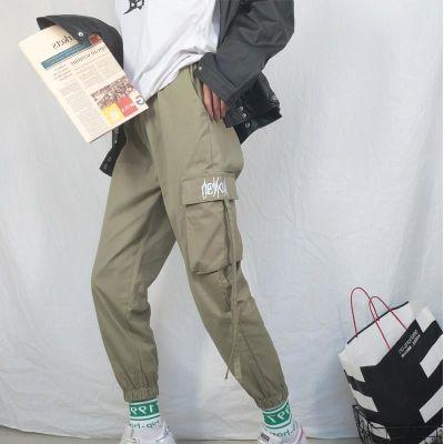 韩版hiphop工装裤女原宿bf风街头宽松休闲口袋学生哈伦裤束脚裤潮