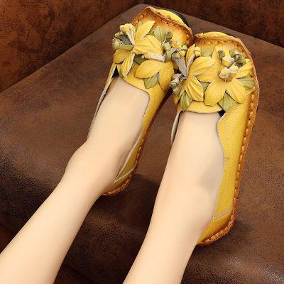 春秋季单鞋平底浅口真皮民族风女鞋中老年软底妈妈鞋大码豆豆鞋女