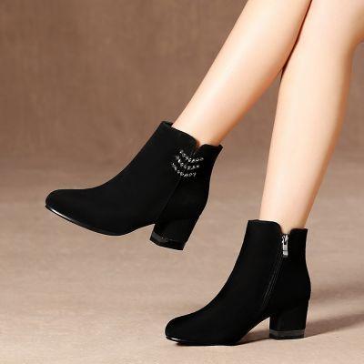2018秋冬新款加绒保暖圆头中粗跟短靴女鞋女靴子女高跟欧美马丁靴