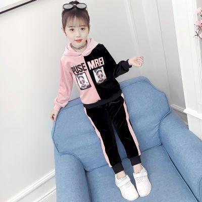 女童秋冬套装2018新款韩版中大童加绒加厚春秋款儿童装运动两件套