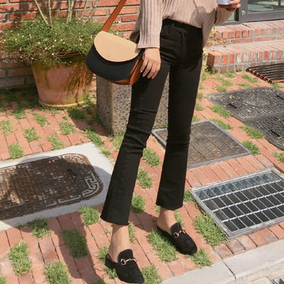黑色九分微喇叭牛仔裤女春秋季韩版高腰显瘦流苏阔腿裤八分直筒裤