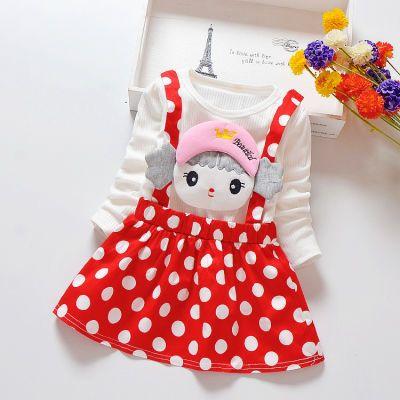 秋季长袖连衣裙韩版可爱纯色小女孩假2件童裙圆点1-2-3-4岁棉布裙