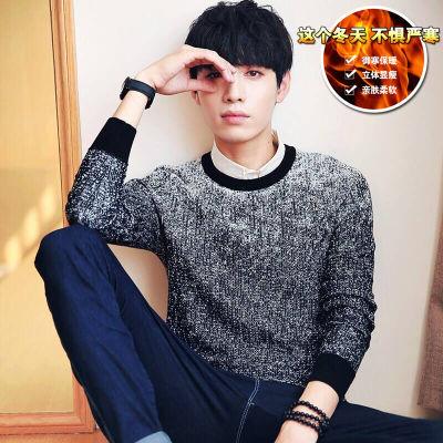 秋冬季新款韩版潮流毛衣男士修身学生针织衣加绒保暖时尚百搭男装
