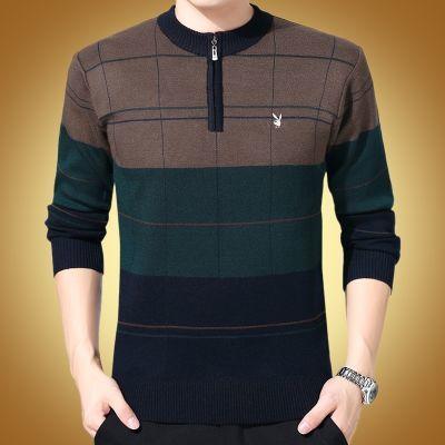 花花公子羊毛衫男中年纯色羊绒衫爸爸装拉链圆领针织衫打底毛衣