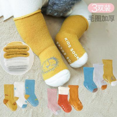 宝宝秋冬毛圈加厚保暖高筒袜子点胶防滑地板袜儿童全棉松口婴儿袜