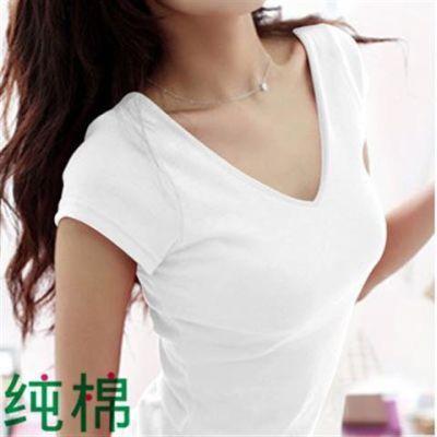 韩版纯棉短袖T恤女款夏装修身v领打底衫紧身半袖体��白色纯色女装