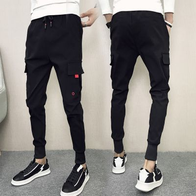 休闲运动裤男贵宾哈伦士裤七分裤军牛仔裤原宿风韩版裤铅笔裤黑色