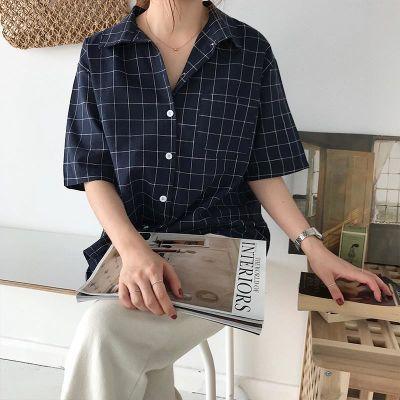 春装2018新款女女装韩版ulzzang格子衬衣复古学生衬衫短袖上衣潮