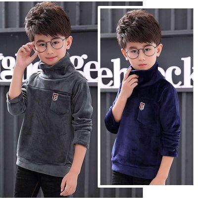 童装男童高领打底衫加绒加厚中大童保暖秋冬t恤长袖儿童上衣