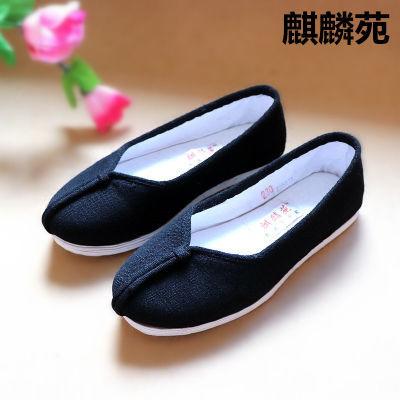 老北京布鞋低帮女单鞋手工千层底传统复古亚麻居士春秋透气软底