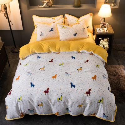 全棉珊瑚绒四件套冬季加厚法兰绒被套床单款保暖被罩纯棉床上套件