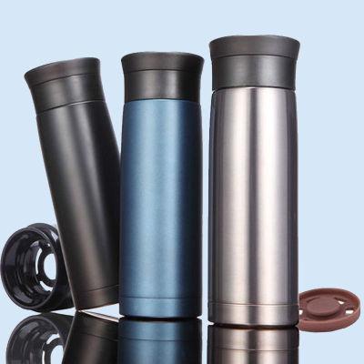 梅城420ML全304不锈钢车载杯 双层保温杯 保温瓶便携商务保温壶茶