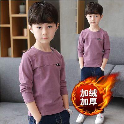 男童冬款长袖加绒T恤新款儿童加绒圆领打底衫体恤秋冬中大童上衣