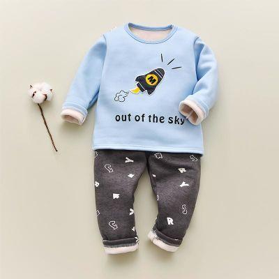 【加绒加厚】儿童秋冬季保暖内衣套装幼儿园宝宝秋衣秋裤全棉套装