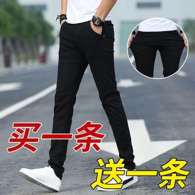 七分裤男韩版宽松学生潮流原宿风直筒裤白色牛仔破洞抽绳哈伦裤抖