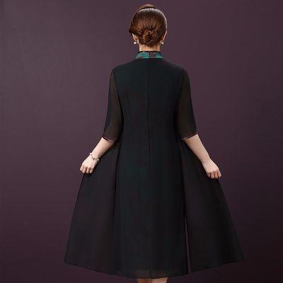 双层丝绸旗袍裙子大码长款中袖秋冬走秀礼服旗袍连衣裙女