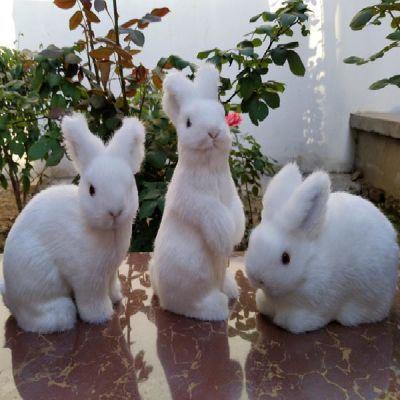 仿真兔子动物家居饰品动物摆件兔子静态动物模型小白兔灰兔公仔