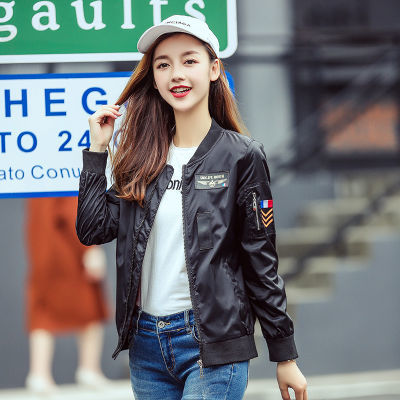 【歌琳妍】2018秋季小外套短款棒球服女飞行服宽松百搭夹克衫潮