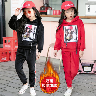 儿童套装女2018童装新款女童秋冬金丝绒加厚双面绒套装