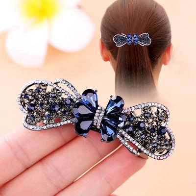 韩国复古水钻弹簧夹蝴蝶结顶夹发饰饰品发夹马尾夹女发卡成人头饰