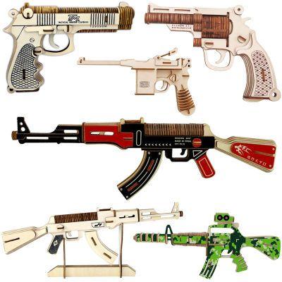木制仿真冲锋枪模型 3d拼装男孩益智木头手枪玩具 木质3d立体拼图
