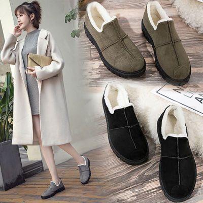 冬季棉鞋羊羔毛绒雪地靴女韩版学生百搭懒人休闲鞋一脚蹬加绒保暖