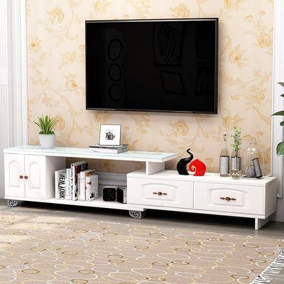 欧式 现代简约电视柜伸缩 钢化玻璃电视机柜 客厅电视柜茶几组合
