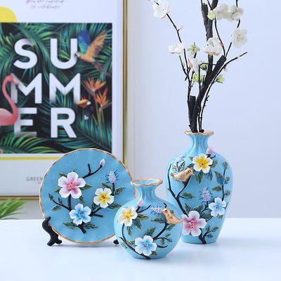 创意装饰品花瓶陶瓷三件套插花瓶家居欧式客厅玄关电视柜摆件花瓶