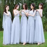 伴娘服长款2020新款灰色姐妹团伴娘礼服演出小礼服中袖年会晚礼服